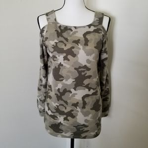 Cold Shoulder Camouflage Sweater